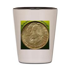 Arkansas Centennial Half Dollar Coin  Shot Glass