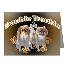 Pekingese Double Trouble Car Note Cards (Pk of 20)