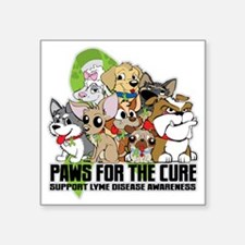 """Lyme Disease Puppy Group Square Sticker 3"""" x 3"""""""