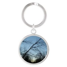 woods in winter Round Keychain