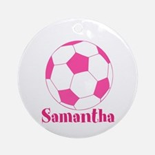 Pink Soccer Ball Ornament (Round)