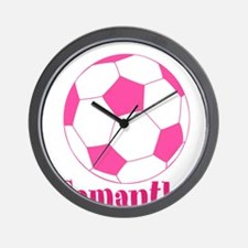 Pink Soccer Ball Wall Clock