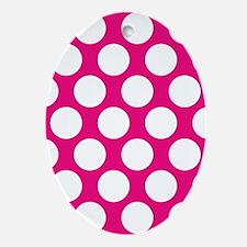 Hot Pink Polkadot Oval Ornament