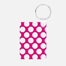 Hot Pink Polkadot Keychains