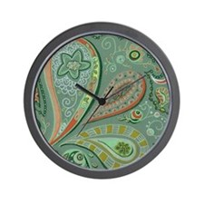 White Lace Paisley Wall Clock