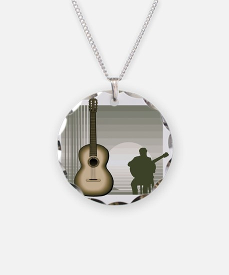 acoustic guitar player sitting brown Necklace