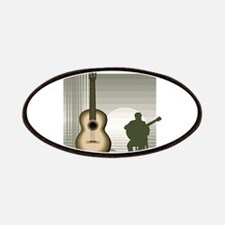 acoustic guitar player sitting brown Patches