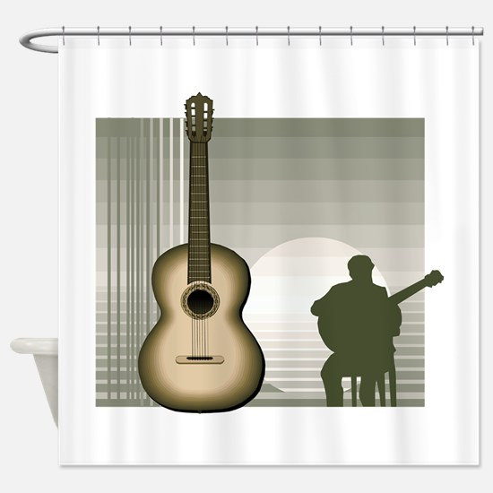 acoustic guitar player sitting brown Shower Curtai