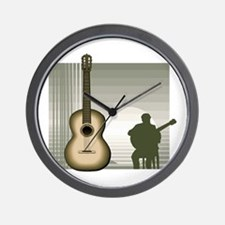 acoustic guitar player sitting brown Wall Clock