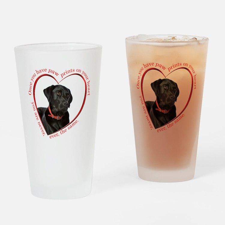 Lab Paw Prints Drinking Glass