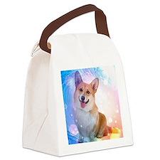 Corgi with Blue Wave Shower Curta Canvas Lunch Bag