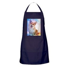 Corgi with Blue Wave Shower Curtain Apron (dark)