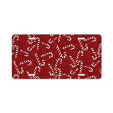 Christmas Candy Cane Gift Red Aluminum License Pla