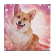 Corgi with hearts Tile Coaster