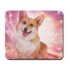 Corgi with hearts Mousepad