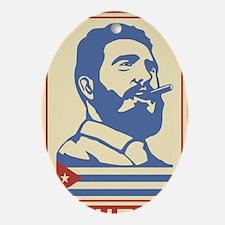 Castro Cuba comunist vintage propaga Oval Ornament
