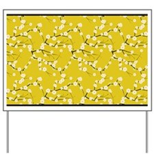 3x5 White Cherry Blossoms with Gold and  Yard Sign