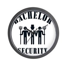 Bachelor Security (Stag Night / Black) Wall Clock