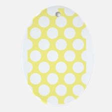 Bright Yellow Polkadot Oval Ornament