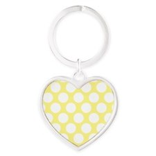 Bright Yellow Polkadot Heart Keychain