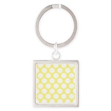 Bright Yellow Polkadot Square Keychain