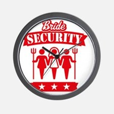 Bride Security (Hen Party / Red) Wall Clock