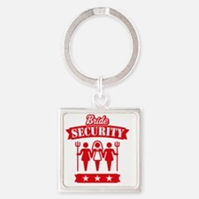 Bride Security (Hen Party / Red) Square Keychain