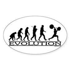 Evolution (Man Weightlifting) Oval Decal