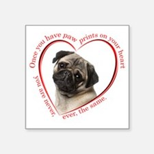 "Pug Paw Prints Square Sticker 3"" x 3"""