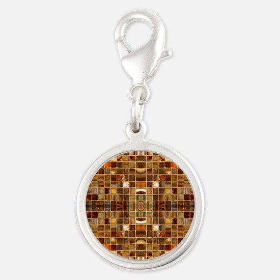 Gold Mosaic Tiles Silver Round Charm