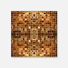 "Gold Mosaic Tiles Square Sticker 3"" x 3"""