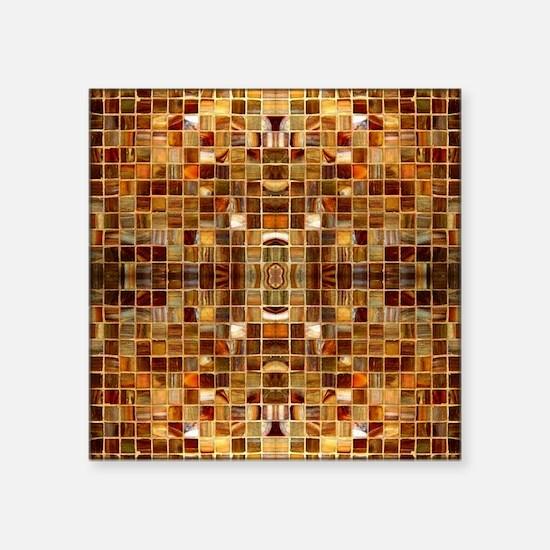 "Gold Mosaic Tiles Square Sticker 3"" x 3"""