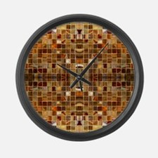 Gold Mosaic Tiles Large Wall Clock