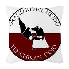 Grand River Aikido - Red and W Woven Throw Pillow