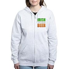 Irish You Were Beer Zip Hoodie