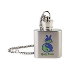 YIN YANG EASTER BUNNY (BLUE) Flask Necklace