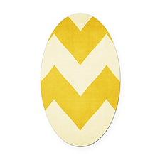 mustard yellow chevron Oval Car Magnet