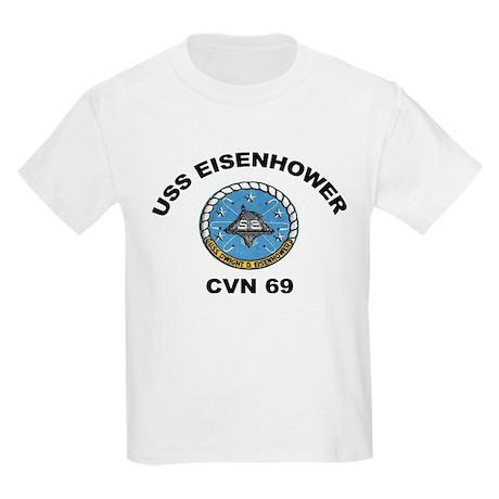 USS Eisenhower CVN 69 Kids Light T-Shirt