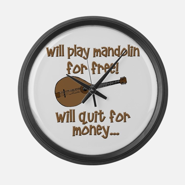 funny mandolin Large Wall Clock