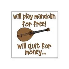 "funny mandolin Square Sticker 3"" x 3"""