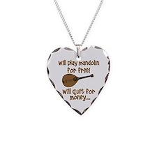 funny mandolin Necklace Heart Charm