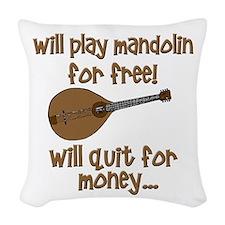 funny mandolin Woven Throw Pillow