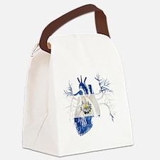 El Salvador Flag in Real heart Canvas Lunch Bag