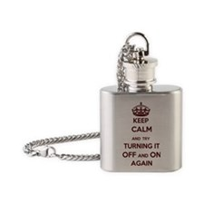 Keep Calm and Try Turning it Off an Flask Necklace
