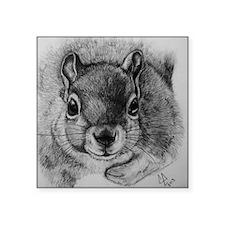 "Squirrel Sketch Square Sticker 3"" x 3"""