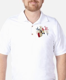Dominican Republic Flag in Real heart Golf Shirt