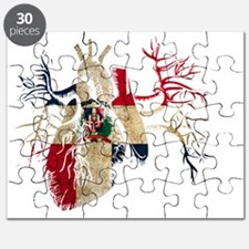 Dominican Republic Flag in Real heart Puzzle
