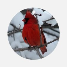 Snow Cardinal Round Ornament