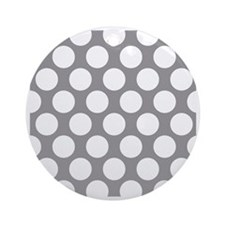 Pebble Grey Polkadot Round Ornament