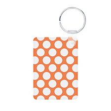 Nectarine Orange Polkadot Aluminum Photo Keychain